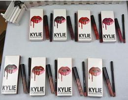 Wholesale Lip Liner Kit - KYLIE LIP KIT liner Lipliner pencil Velvetine Liquid Matte Lipstick Makeup Lip Gloss june bug GRAPE SODA Make Up 42 colors