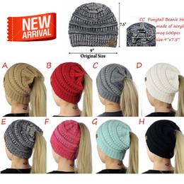 Wholesale Tattoo Skulls - Hot 8-color Lady CC Tattoo Cap Hat CC Knitting Fashion Girl Winter Warm Pony Hat