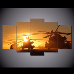 Wholesale Helicopter Room Decor - 5 Pcs Set HD Printed navy helicopters Painting Canvas Print room decor print poster picture canvas Free shipping ny-6290