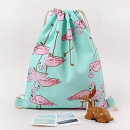 Wholesale Drawstring Bags For Shoes - Bag for Girls School Shoes Fashion Flamingos Shoes Bags Canvas Travel Shoulders Backpack Drawstring Storage Bags FBB1806
