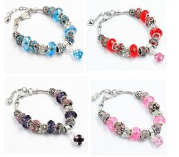 Wholesale Crystal Jewelry Setting Diy - Fashion 4 Styles Silver Plated Daisies Murano Glass&Crystal European Charm Beads Fits Charm bracelets Style Bracelets DIY Jewelry For Women