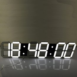 Wholesale Led Digital Countdown Timer - Wholesale- Super Large Digital LED Alarm Clock Wall Clock Remote Control Countdown Timer Sports Timer Stopwatch