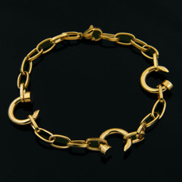 Wholesale Gold Chains New Designs - New arrival 316L Titanium steel bracelet with nail c design pendant in 16.5cm length without extension chain for women and man jewelry Free
