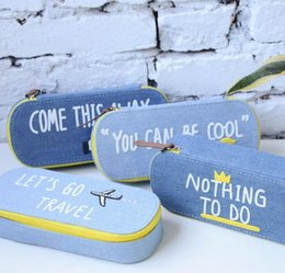 Wholesale Novelty Glasses Case - Wholesale-Novelty Oval Shaped Denim Fabric Pencil Bag Stationery Storage Organizer Case dual Glasses Case School Supply Student Prize