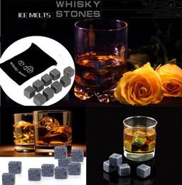Wholesale Whisky Set - 900pcs 100set High Quality Natural Stones 9pcs set Whisky Stones Cooler Soapstone Ice Cube With Velvet Storage Pouch2045