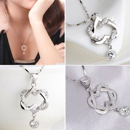 Wholesale Selling Stainless Steel Necklace Chain - 2017 Hot selling Silver Plated Women Double Heart Pendant Necklace Chain Jewelry for Women girlfriend gift free shipping