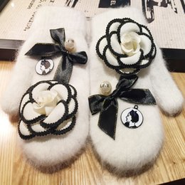 Wholesale Korea Fashion Evening - Wholesale- Woman fur short gloves Korea Real Beauty Rabbit's Hair Keep Warm Winter Necessary Even Finger Lovers Glove