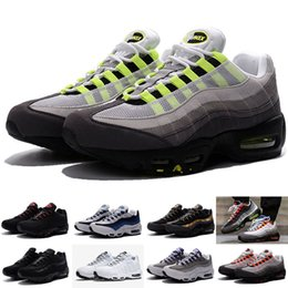 Wholesale Cheap Mens Canvas Shoes - 2018 New Cheap Mens sports 95 running shoes,Premium OG Neon Cool Grey sporting shoes sneakers size 40-46