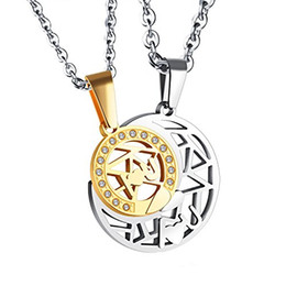 Wholesale Puzzle Steel - Fashion 2PCS Stainless Steel Hollowed Sun and Moon Matching Couples Puzzle Pendant Necklace Valentine's Anniversary Gift for Couples Lover