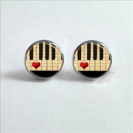 Wholesale Wholesale Keyboard Pianos - 2017 New Music Piano Stud Earrings Sheet Music Ear Studs Black and White Keyboard Jewelry Glass Dome Earrings Rated