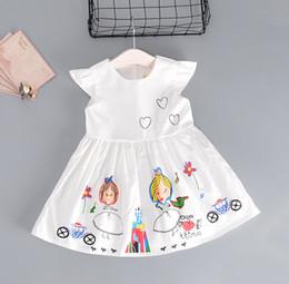 Wholesale Little Girl Dance - 2017 summer new cotton children sleeves vest skirt 90-130 CM little girl printing love short-sleeved dance beach dress L128