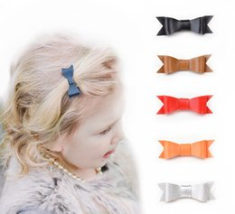 Wholesale Metal Alligator Clips For Hair - 9colors leather hair bow girl with hair clip, bow with metal alligator clip,leather bowknot for girl ZL010
