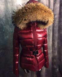 Wholesale luxury Brand design Mon Jacket big Real Raccoon Fur Coat Adjustable Waist Womens Down Coats Thickening Collar Hood Down Womens Winter