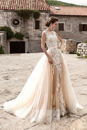 Wholesale Detachable Train Mermaid Wedding Gowns - Champagne 3D Lace Beach Wedding Dresses With Detachable Train Applique Sheer See Through Skirt Mermaid Wedding Dress Plus Size Bridal Gowns
