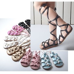 Wholesale Infant Wholesale Sandals - Baby Sandals Roman Gladiator Long Lace High Quality Leather TPR Sole Infant Sandals Baby Walking Shoes