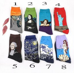 Wholesale Character Socks - Fashion Art Cotton Crew Socks Painting Character Pattern for Women Men Harajuku Design Sox Calcetines Van Gogh