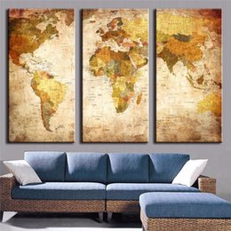 Wholesale Three Pieces Oil Paint - 3 Pieces LARGE Canvas Painting World Map Office Home Decoration For Living Room Modern Wall Art HD Print Painting On Canvas Unframed