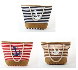 Wholesale Stripe Canvas Tote Beach Bags - Wholesale Canvas Women Beach Bag Fashion Color Stripes Printing Handbags Boat Anchor Ladies Large Shoulder Bag Totes Casual Shopping Bags
