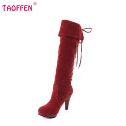 Wholesale Leather Ladies Riding Boots - Wholesale-size 32-48 women high heel over knee boots ladies riding fashion long snow boot warm winter botas heels footwear shoes P6782