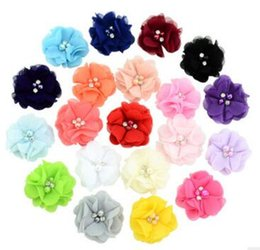 Wholesale Chiffon Flowers Pearl Diy - 20 colors foreign trade jewelry accessories pearl diy hand - hand - sewn pure color chiffon flower decoration flower 733