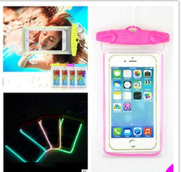 Wholesale Iphone 4s Cases Luminous - Universal Clear LED Luminous Waterproof Pouch Case Water Proof Bag Underwater Dry Cover For iPhone 4S 5S SE 7 6 6S plus Samsung S6 edge S5
