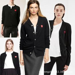 Wholesale Long Spring Sweaters Women - 2017 Hot sale High Quality Spring winter fashion cardigan cdg play gold heart embroidery women men lover sweater cardigans