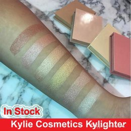 Wholesale Cotton Candy Makeup - 2017 Kylie Kylighter Glow Kit Highlighter 6 color Kylie Cosmetics French Vanilla Cotton Candy & Salted Carmel Highlighter Glow Face Makeup