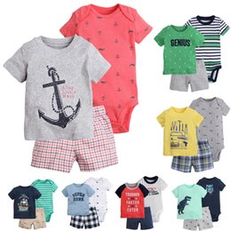 Wholesale Top Boutique Wholesale - 3 Pieces Clothing Sets T Shirt Rompers Tops Pants Baby Boys Newborn Infant Toddler Boutique Kids Children Clothes Short Sleeve Outfits