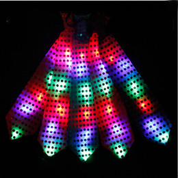 Wholesale Children Hankies - Fashion LED Glowing Tie Dance Party Bar Stage Glowing Flashing Tie colorful for woman man children