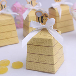 Wholesale Yellow Wrapped Candy - 100pcs Cute Yellow Bees Candy Box Baby Shower Sweet Gift Boxes Wedding Party Decoration Faovrs New