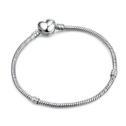 Wholesale Making Bangles - New Arrival Authentic Silver Plated Heart Snake Chain Bracelet & Bangle 17CM-21CM Luxury Jewelry Making DIY LZ18