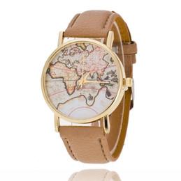 Relógios de pulso on-line-New Geneva Earth map Assista vintage relógio de pulso de couro para homens mulheres relógio