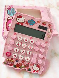 2019 moda financeira Atacado Rosa Olá Kitty Criativo Irregularmente Em Forma de Calculadora Solar Calculadora Da Bateria Do Botão Calculadora Do Presente Do Escritório de Publicidade