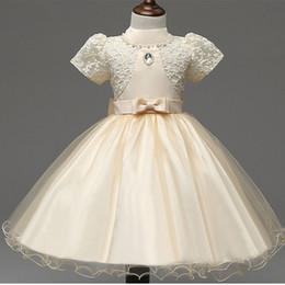 Wholesale Shorter Wedding Dresses For Boat - 2017 Girls Dresses Applique short sleeve Kids Lace Clothes Wedding Party Dress For Girl Summer Children's Princess Dresses 2-7Y