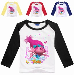 Wholesale Cartoon Kids Tees - New Trolls T-Shirt Kids Clothes Girls Tops and Tees Childres Clothing Cartoon Boys Ruffle Ragian T Shrit Girls Clothes 100-140