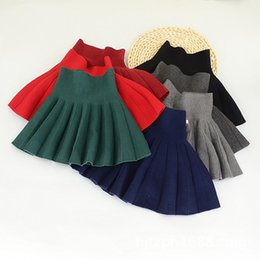 Wholesale Cheap Fall Winter Clothes - Pleated Knit Skirts for girls High-waist Solid wool Skirt Girls clothing Sweet Preppy style Red Cheap quality clothing 2017 Fall Winter