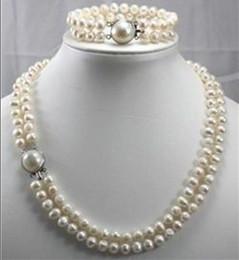 Wholesale Double Strand Pearl Necklace Bracelet - 2014 double strands 9-10mm Australian south sea white pearl necklace bracelet