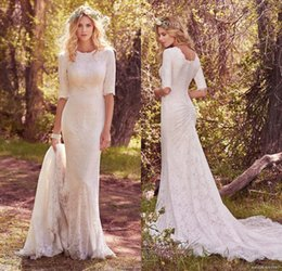 Wholesale Cover Training - 2017 Spring Country Bridal Half Sleeves Jewel Neckline Full Lace Elegant Conservative Sheath Wedding Dress Full Back Chapel Train
