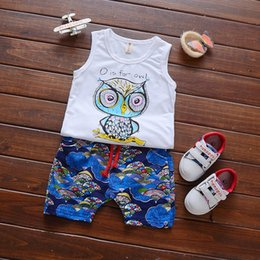 Wholesale Korean Unisex Suit - 2017 Korean new styles Hot selling girl Summer 2 pieces cute set Owl cartoon suits of the girls T-shirt + short clothing free shipping