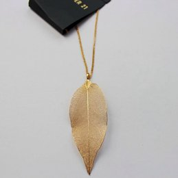 Wholesale Necklaces Pendants Gold Plated - Trend Fashion Hollow Out Leaf Pendant Necklace Womens Gold Plating Long Sweater Necklace High Quality
