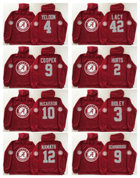 Wholesale Hoodie Sweatshirt - Alabama Crimson Tide Red Men Jerseys 2 Jalen Hurts 9 Bo Scarbrough 3 Ridley 10 A.J McCarron 12 Joe Namath Hoodie Hooded Sweatshirt Jackets