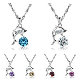 Wholesale Dolphin Necklace Mix - Brand new Fashion female crystal necklace female dolphin pendant Valentine's Day gift WFN077 (with chain) mix order 20 pieces a lot