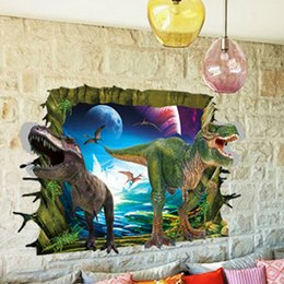 Wholesale Dinosaur Wall Decor For Kids - 3D dinosaur Wall Stickers for kids rooms Removable Cartoon Wall Decals Nursey room decor Child Wallpaper wall Art boys love kids room decor