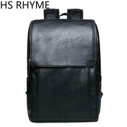Wholesale Male School Bags - Wholesale- HS RHYME Korean Man PU Leather Backpack Male New Style Junior Middle School Students' Leisure Travel Backpack Bag