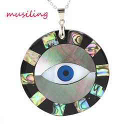 Wholesale Shell Pendant Charms - Big Eye Abalone Shell Pendants Necklace Chain Alternate Splicing Pendant Accessories Silver Plated European Fashion Jewelry For Women