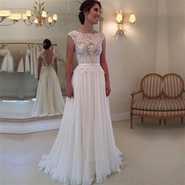 Wholesale High Quality Ribbon Wedding Gown - High Quality Vestidos De Noivas Sexy Backless Lace A-Line Wedding Dresses White Ivory Long Dress Brides Wedding Gowns Robe de Mariage