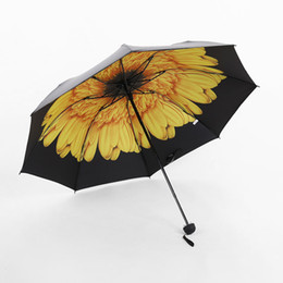 Wholesale Umbrella Pattern - 10 Colors Anti UV Sun Umbrella Women Three Folding Black Coating Parasols Flower Pattern Sunny And Rainy Umbrella Laides Paraguas