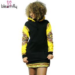 Wholesale Women S Long Sweater Tunics - Autumn Winter Sweater Dress Women African Dashiki Hoodie Casual Long Sleeve Side Zipper Hooded Tunic Dresses Long Jumper Top
