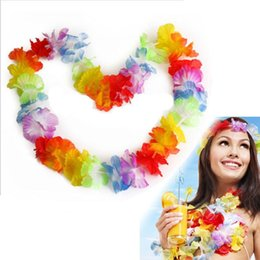 10pcs NUOVO Hawaiian Colorful Leis Beach Tema Luau Party Flower Necklace Ghirlande per la decorazione del partito da decorazioni per il partito hawaiano fornitori