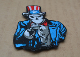 Wholesale usa tape - 3*3.7 inch Wholesale 3D Patches Embroidered patch with magic tape American Flag USA US Uncle Sam armband badge garment accessories free ship
